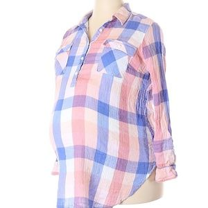 ISABEL MATERNITY PINK PLAID TOP